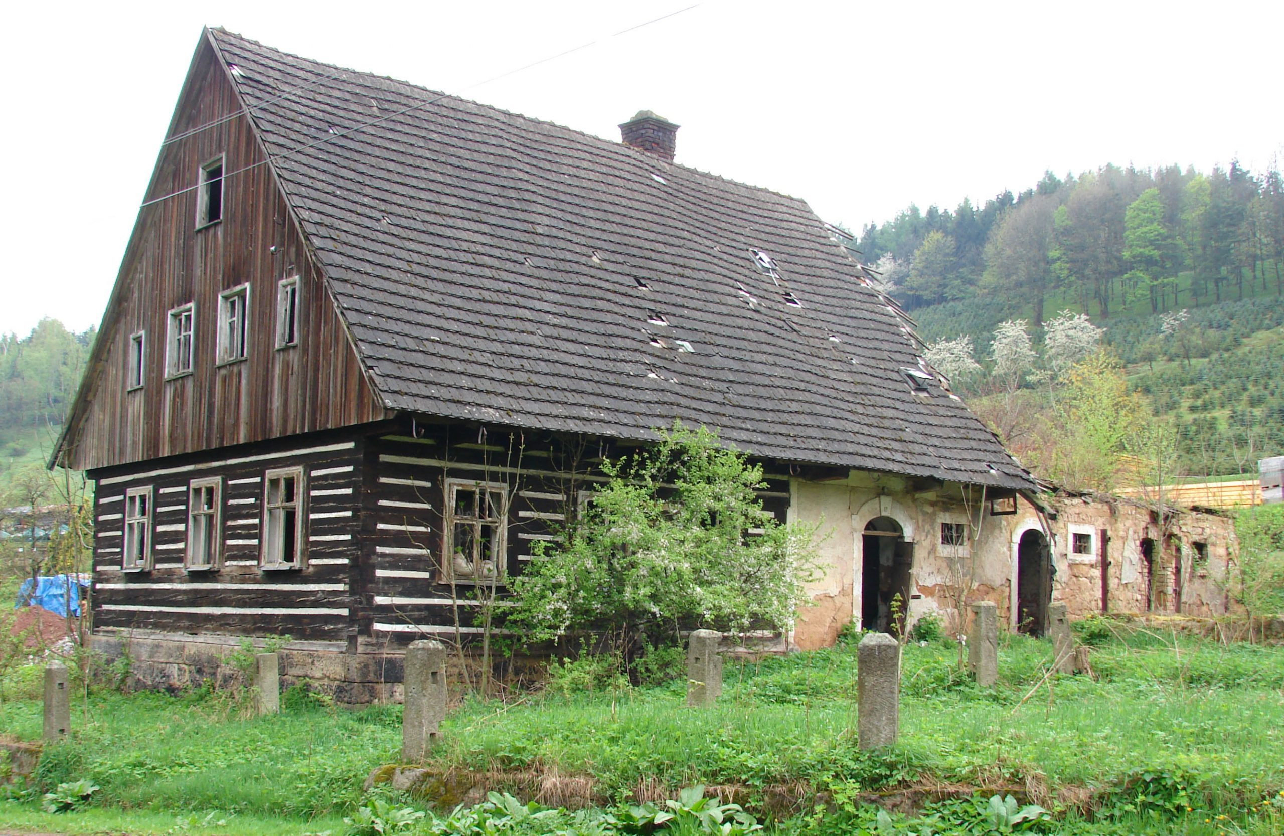 Abandoned crowned construction house in Kudowa-Zdrój